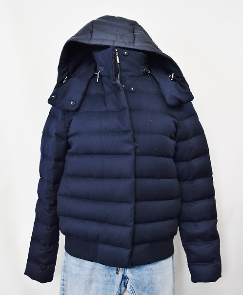 Moncler Navy Quilted Cashmere Coat Size Small