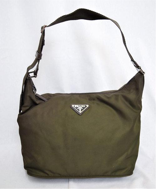 Prada Olive Green Nylon Shoulder Bag