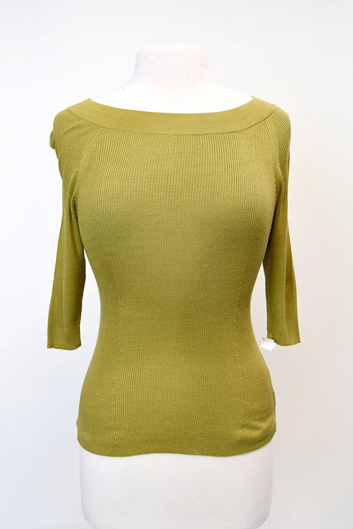 MaxMara Green Ribbed Knit Sweater Size Large