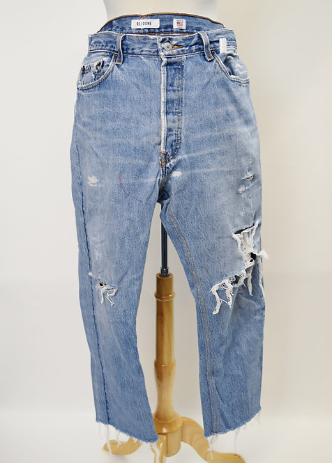 Re/Done Light Wash Distressed Jeans Size 30
