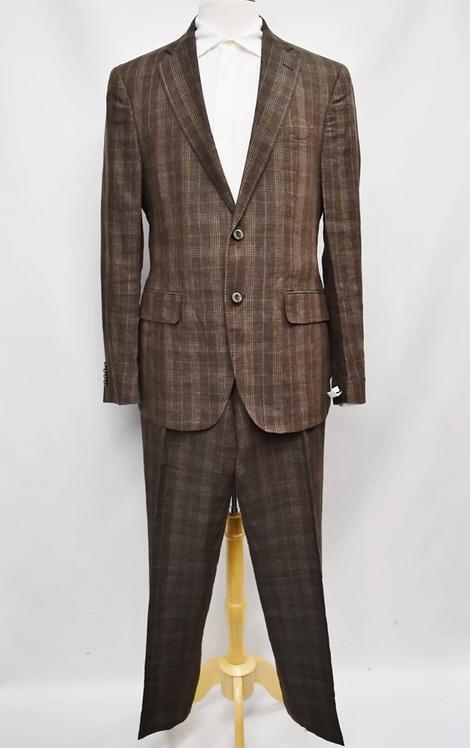 Etro Brown Plaid Suit Size 42R