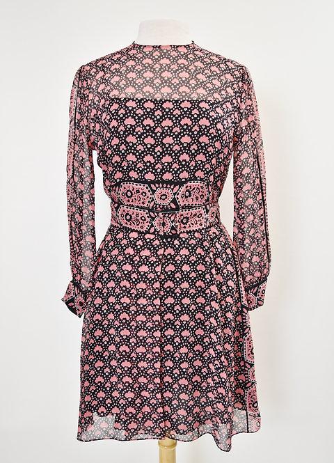 Christian Dior Black & Pink Print Chiffon Dress Size Small