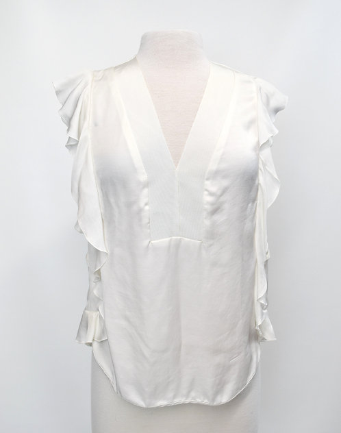 Sandro White V-Neck Blouse Size Small