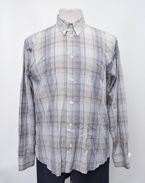 Billy Reid White & Gray Plaid Shirt Size Medium