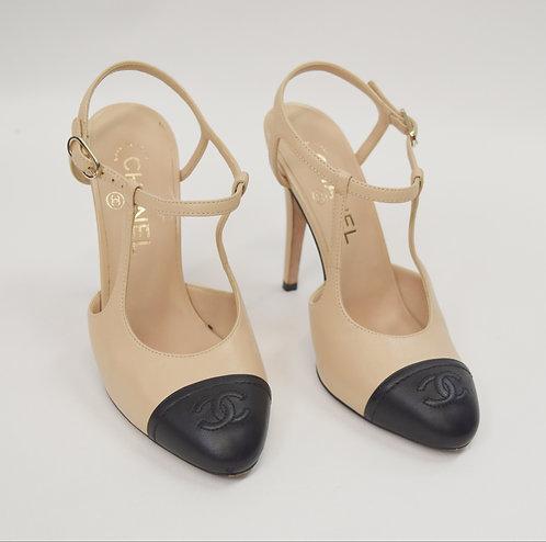 Chanel Beige & Black Leather Heels Size 6