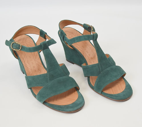 Chie Mihara Teal Suede Wedges Size 7.5