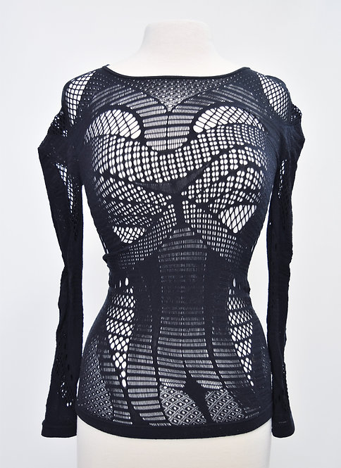 Alexander McQueen Black Pattern Mesh Top Size Small