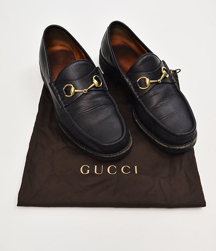 Gucci Black Leather Loafers Size 10
