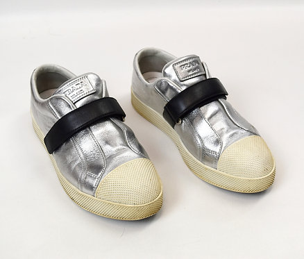 Prada Silver Leather Sneakers Size 9