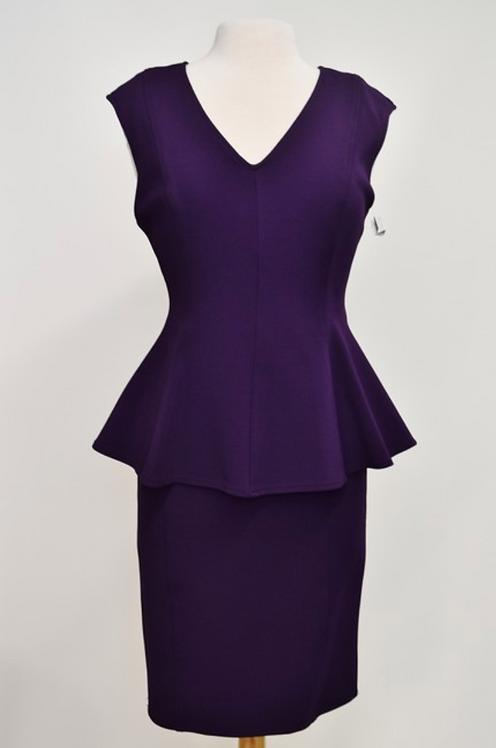 St John Purple Peplum Dress Size 8