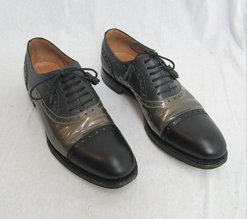 Gucci Black & Gray Leather Oxford Shoes Size 7