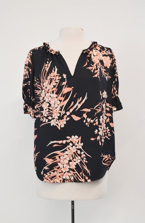 Joie Black & Pink Floral Top Size Medium