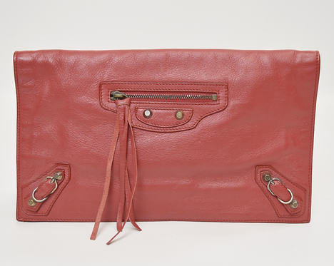 Balenciaga Red Leather Classic Studs Envelope Clutch