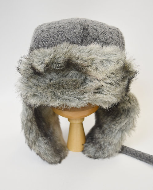 HatAttack Gray Knit & Faux-Fur Trapper Hat