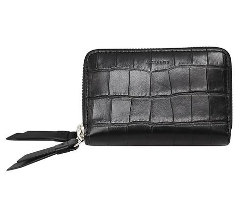 AllSaints Black Crocodile Leather Double-Zipper Wallet