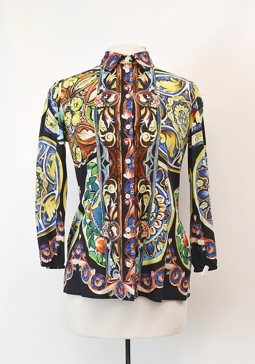 Dolce&Gabbana Multi-Colored Mosaic Blouse Size Medium (8)