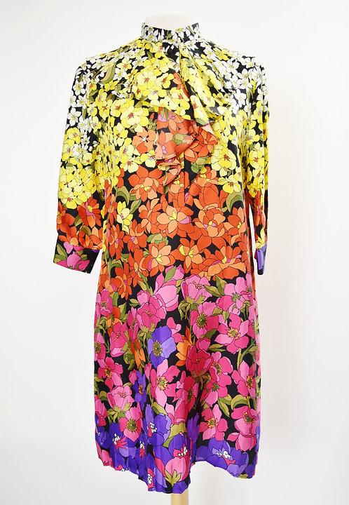 Gucci Multi Colored Floral Silk Dress Size Medium