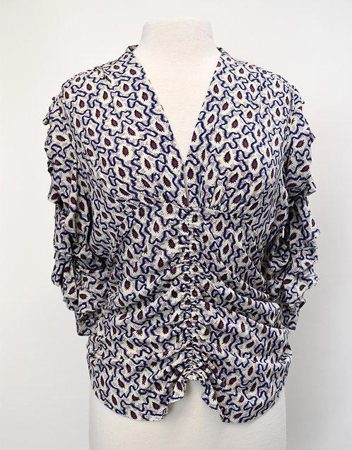 Isabel Marant Gray & Purple Print Blouse Size Small