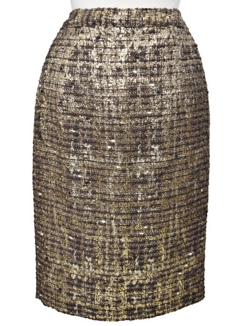 Alice + Olivia Brown & Gold Tweed Skirt Size 4