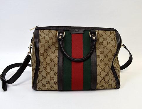 Gucci Monogram Canvas & Leather Duffle Bag