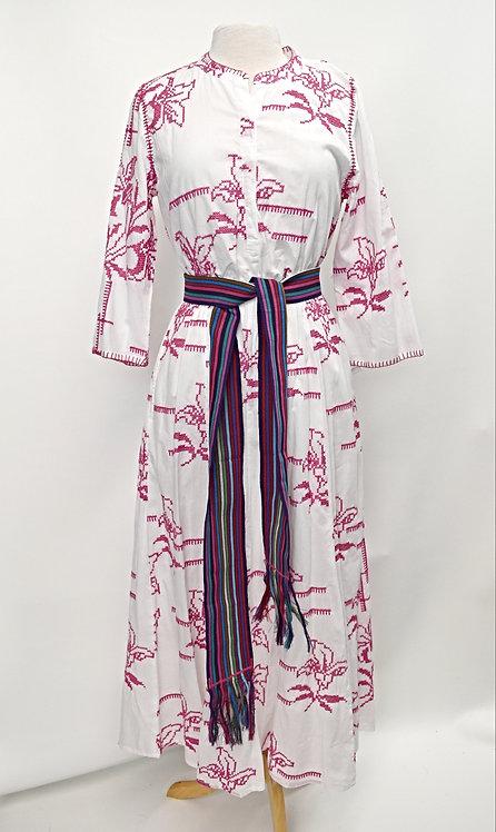 Nimo White & Pink Embroidered Maxi Dress Size Medium
