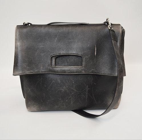 Maison Martin Margiela Black Distressed Leather Satchel