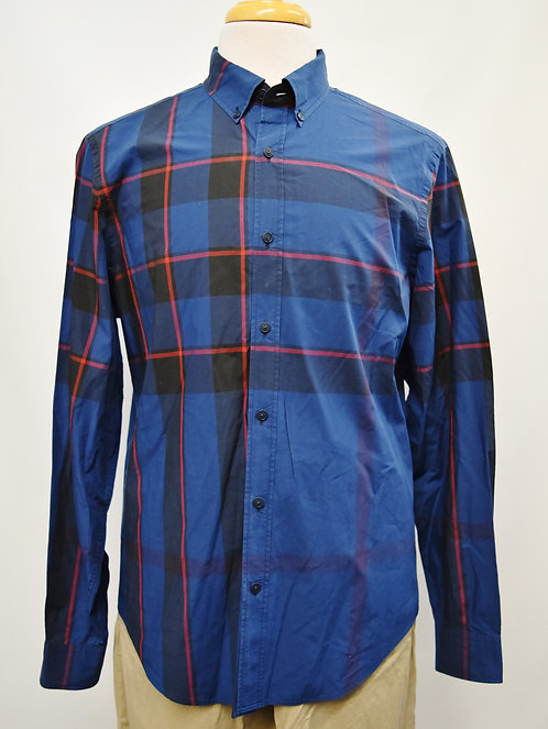 Burberry Dark Blue Plaid Shirt Size Large