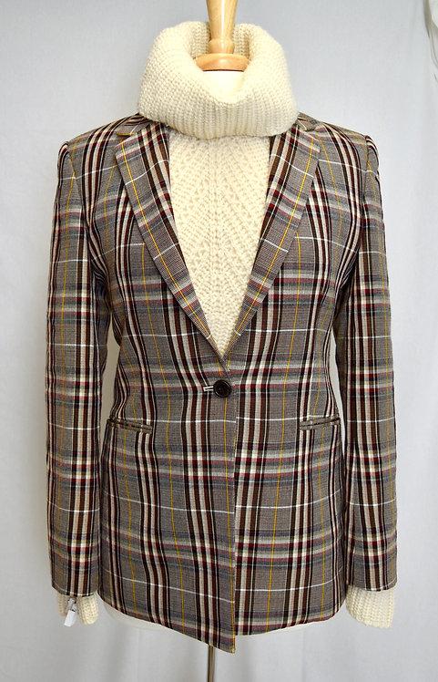 Theory Brown Plaid Blazer Size Medium (8)
