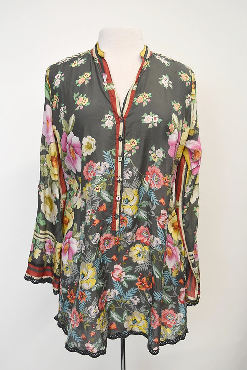 Johnny Was Gray Floral Tunic Size XS