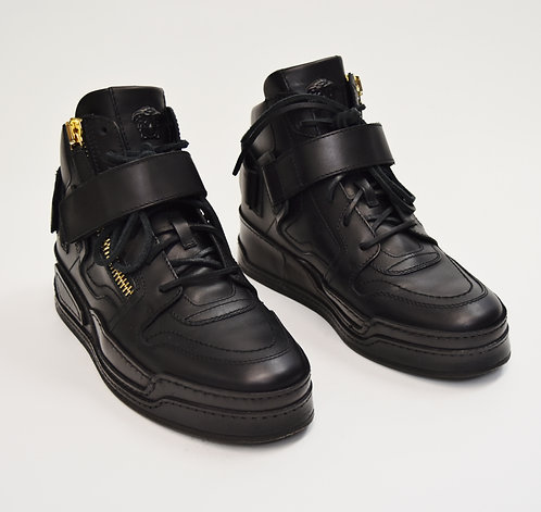 Versace Black Leather High Top Sneakers Size 7