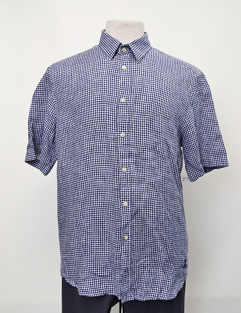 Vilebrequin Blue Check Linen Shirt Size Large