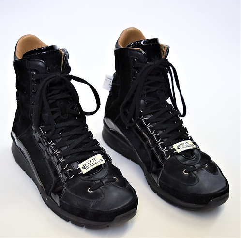 DSquared2 Black Leather High Top Sneakers Size 9