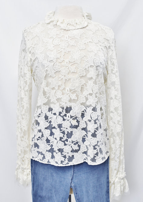 Alexis White Lace Blouse Size Large