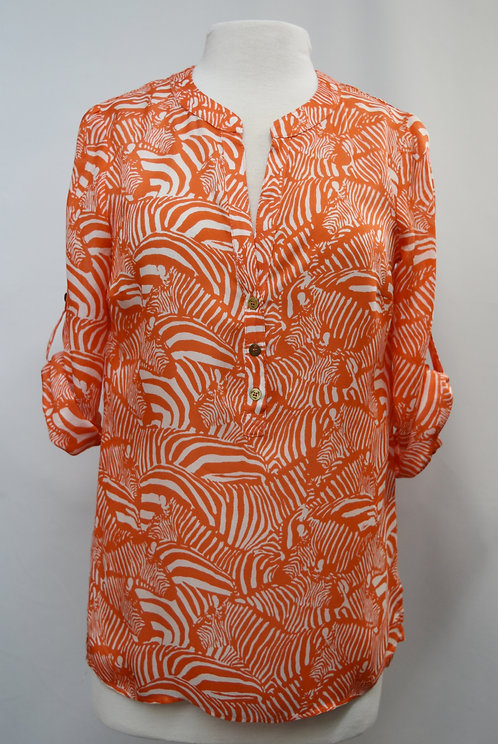 Trina Turk Orange Zebra Print Blouse Size Small