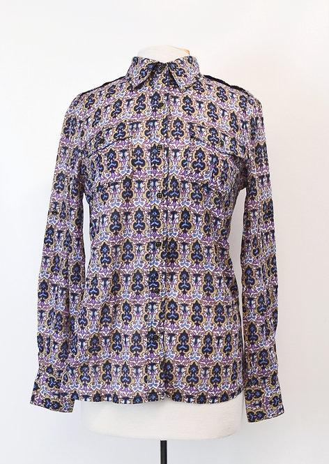 Tory Burch Purple Print Blouse Size Medium (8)