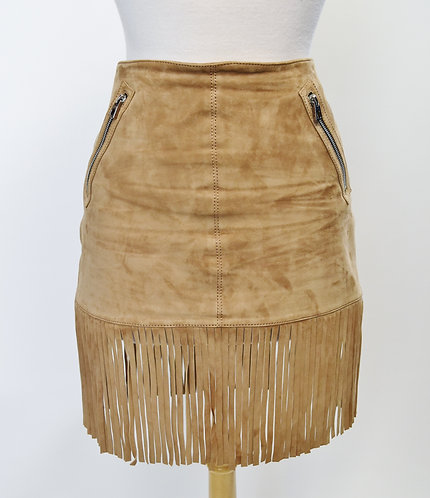 Barbara Bui Tan Suede Fringe Skirt Size Medium