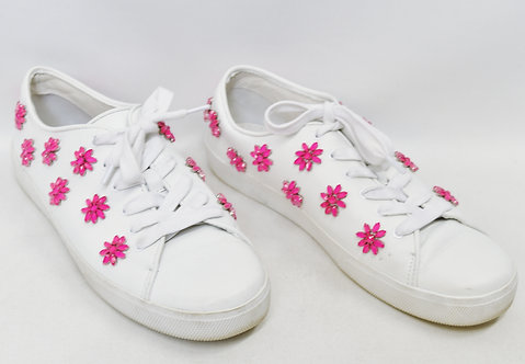 Alice + Olivia White Floral Sneakers Size 9.5