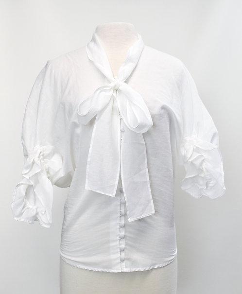 Acheval White Button Down Blouse Size Small