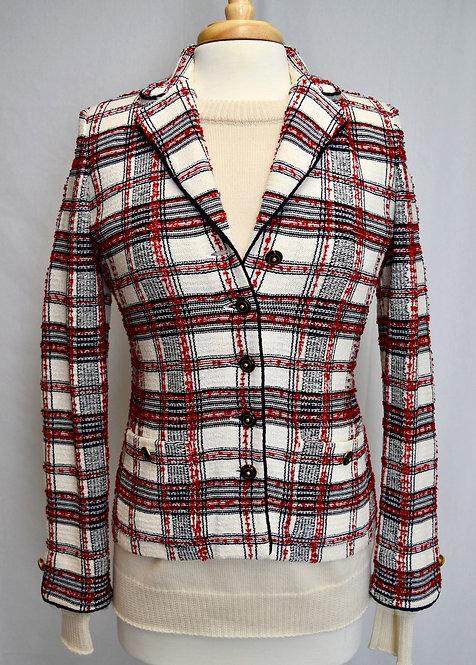 St. John White Plaid Blazer Size XS (2)