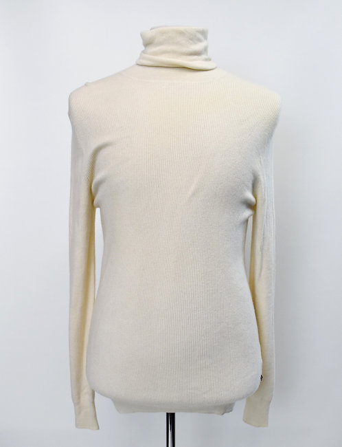 Burberry Ivory Knit Turtle Neck Sweater Size Large