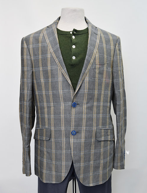 Etro Gray Plaid Wool & Linen Blazer Size 40R