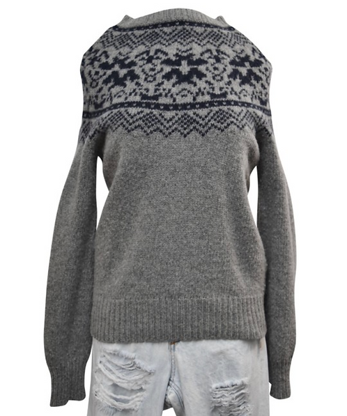 AllSaints Gray & Navy Wool Sweater Size Medium