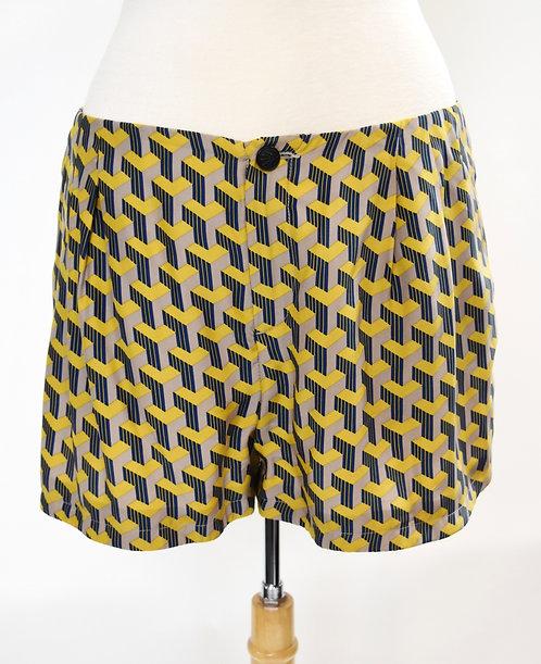 Rag & Bone Yellow & Gray Print Shorts Size 8