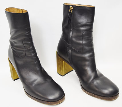 Gucci Black Leather Block Heel Boots Size 9.5