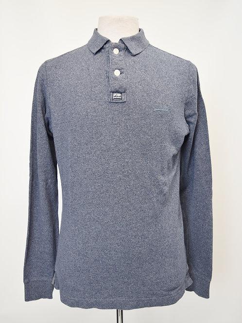 SuperDry Blue Long Sleeve Polo Size Large