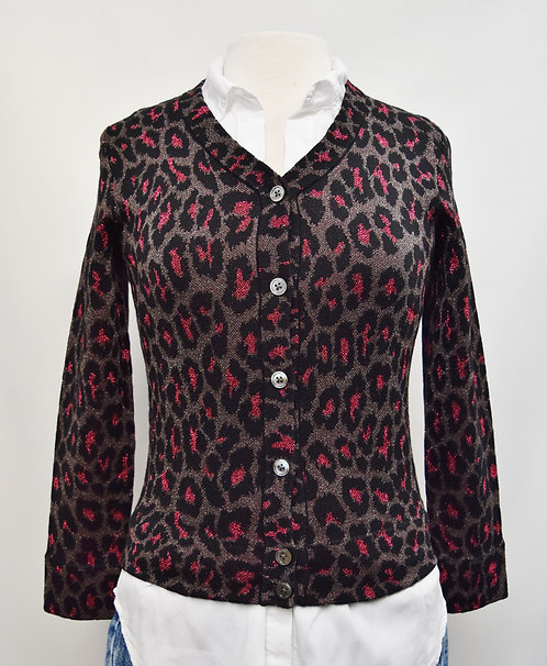 Marc By Marc Jacobs Silver Cheetah Print Cardigan Size Small