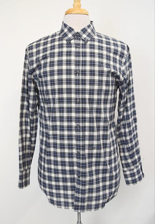 DSquared2 White & Navy Plaid Shirt Size Large