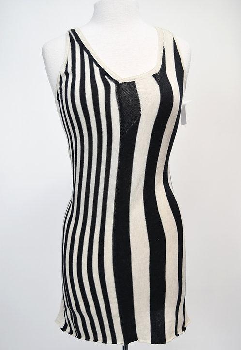 Gary Graham Beige & Black Stripe Knit Dress Size Medium