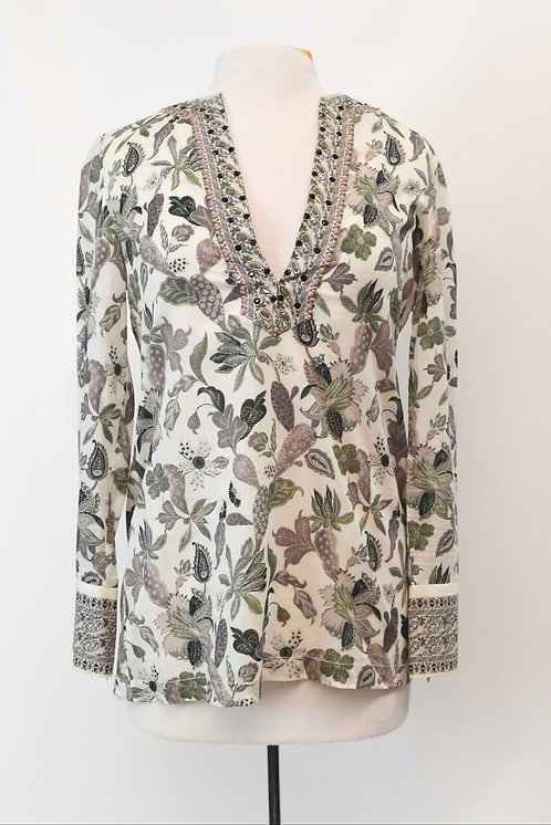 Tory Burch White Floral Tunic Size Small (4)
