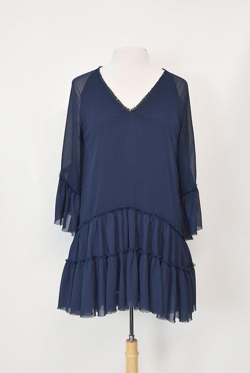Alice + Olivia Navy Chiffon Dress Size Small (6)